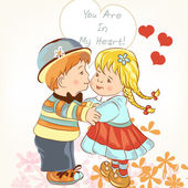 Beautiful Valentine's Day card  with couple of girl and boy hold — Vetor de Stock