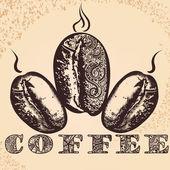 Плакат кофе рукой оттянутые арабские зерна кофе и африканский o — Cтоковый вектор
