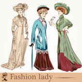 Collection of vector fashion ladies wearied in old-fashioned clo — Stock Vector