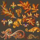 Heraldic collection of vector golden decorative swirls for desig — Stock Vector