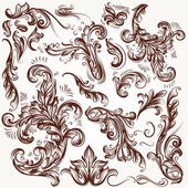 Collection of vector decorative flourishes in vintage style — Stock Vector