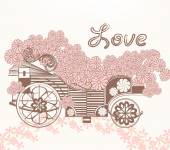 Illustration with art fake carriage and flowers in vintage style — Stock Vector