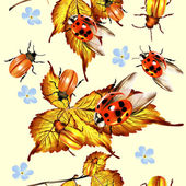 Beautiful seamless pattern with foliage and beetles — ストックベクタ