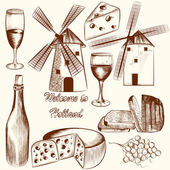 Collection of vector hand drawn elements cheese, wine and Hollan — Stock Vector