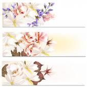 Brochures set with flowers — Stock Vector