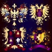Collection of heraldic shields with golden swirls, crowns and ri — Stock Vector