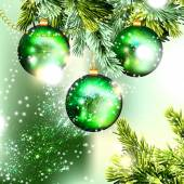 Christmas background with green baubles on a branch — Stock Vector