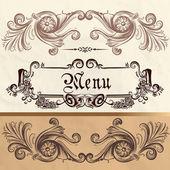 Antique menu design on a paper — Stock Vector