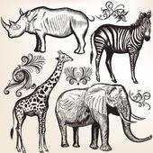 Collection of vector savanna animals — Cтоковый вектор