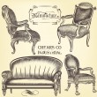 Antique set of vector hand drawn chairs  in vintage style — Wektor stockowy  #72397529