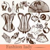 Wektor mody pani zestaw akcesoriów sukienników i kosmetyczne — Wektor stockowy
