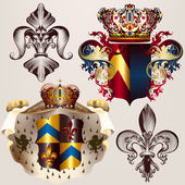 Heraldic vector set of designs with coat of arms, crowns and shi — Stock Vector