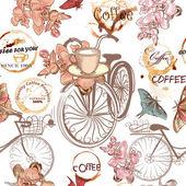 Padrão de vetor gira com bicicletas falsas e flores — Vetor de Stock