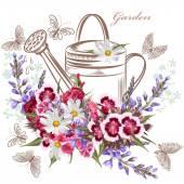 Vector background with garden flowers and butterflies — Stock Vector
