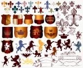 Vector set of luxury royal vintage elements for your heraldic de — Stock Vector