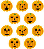Halloween pumpkin with different expressions — Stock Vector