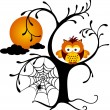 Halloween Owl Perched On A Tree — Stock Vector #52995699