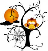 Halloween Owl Perched On A Tree — Stock Vector