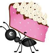 Ant carrying slice cake — Stock Vector