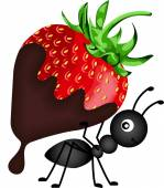 Ant carrying strawberry with chocolate sauce — Stock Vector