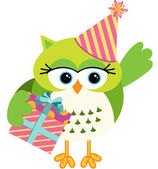 Birthday owl with gift box — Stock Vector