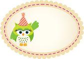 Cute Owl Birthday Label — Διανυσματικό Αρχείο