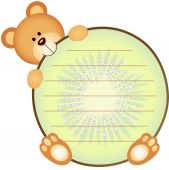 Label with Teddy Bear Eating Kiwi — Stock Vector