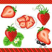 Strawberry Digital Clipart — Stock Vector