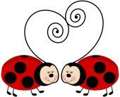 Ladybugs Forming Heart — Vector de stock