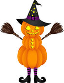 Halloween pumpkin doll with witch hat — Stock Vector