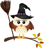 Halloween owl with witch broom — Stok Vektör