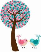 Romantic tree with couple birds — 图库矢量图片
