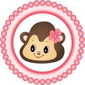 Monkey Girl Round Label — Stock Vector