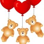 Teddy bears flying with heart balloons — Stockvektor  #57518129