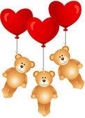 Teddy bears flying with heart balloons — Stock Vector