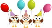 Birthday owls with balloons — Stock Vector
