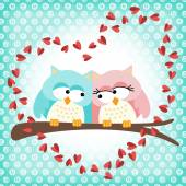 Cute owls couple with love heart — Stock Vector