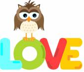 Cute owl with love word letters — Stock Vector