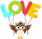 Cute owl holding love balloon — Vecteur