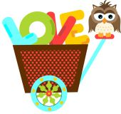 Owl on a cart with love word letters — Stock Vector
