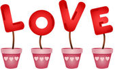 Red love letters in vases — Vector de stock