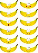 Banana with feature a different expression — Stock Vector