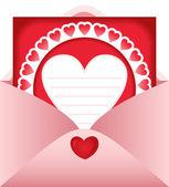 Open envelope with heart postcard — Stock Vector