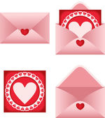 Envelope with heart postcard — Stock Vector