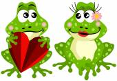 Cute frog couple holding red heart — Stock Vector