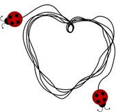 Ladybirds creating a heart with a piece of string — Stok Vektör