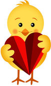 Chick Holding a Heart — Stock Vector