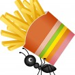 Ant carrying a french fries in stripes packaging — Stock Vector #68915763