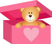 Teddy bear in pink box — Stock Vector