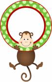 Monkey hanging in a frame — Stock Vector